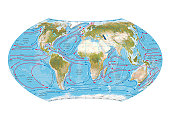 Digital illustration of world map showing ocean currents