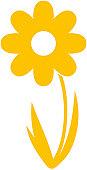 Digital illustration of yellow daisy on white background