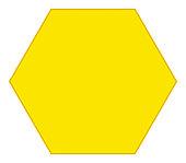 Digital illustration of yellow hexagon