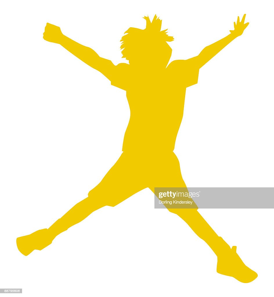 Digital illustration of yellow silhouette of boy doing star jump  : Stock Illustration