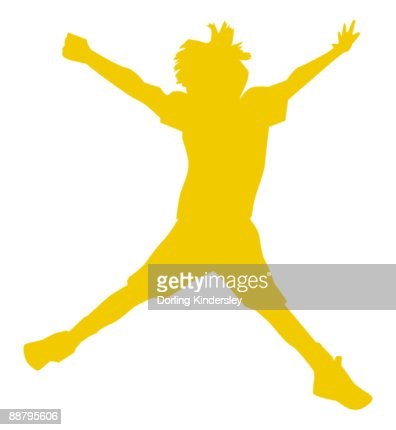 Digital illustration of yellow silhouette of boy doing star jump  : Ilustración de stock