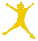 Digital illustration of yellow silhouette of boy doing star jump