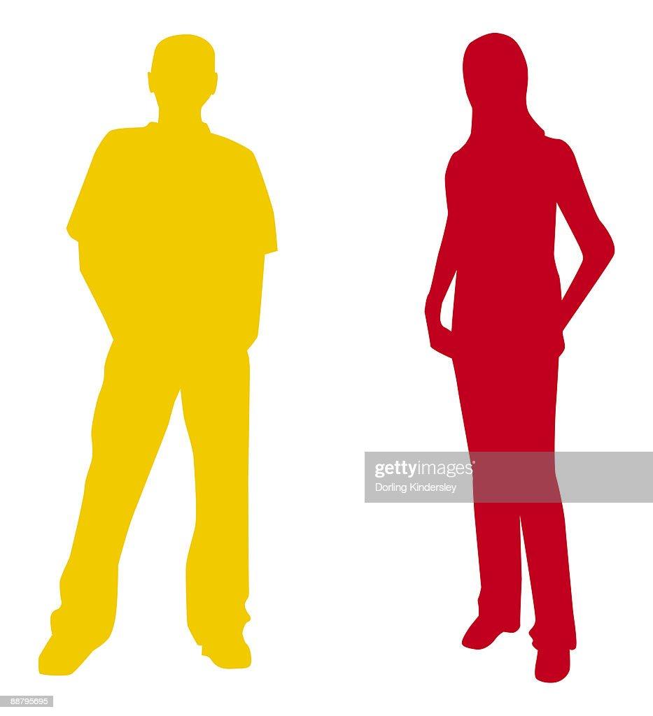 Digital illustration of yellow silhouette of man and red silhouette of woman : Stock Illustration