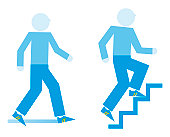 Digital illustration representing men exercising with brisk stroll and running up steps