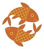 Digital illustration representing two scaly goldfish