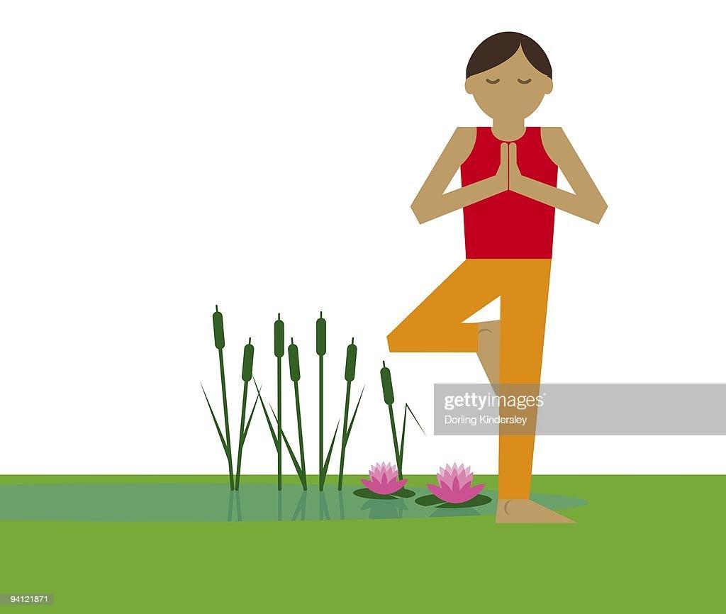 Digital illustration representing woman meditating in lotus position standing on one leg next to pon : Stock Illustration