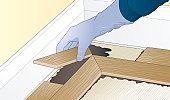 Digital illustration showing how to lay herringbone pattern floor block around perimeter using adhesive