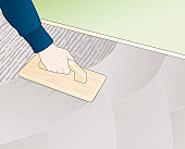 Digital illustration showing how to smooth rough surface of wet concrete using wooden float