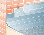 Digital illustration waterproof, overlapping aluminium flashing tape on joint between roof and brick wall