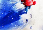 digital painting of little girl walking in winter outdoor, watercolor on paper texture