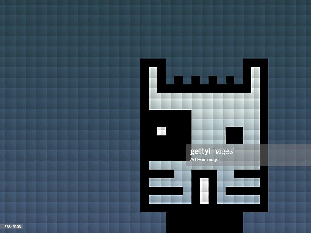Digital representation of a cat : Stock Illustration