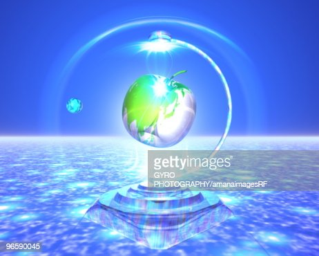 Digitally generated image depicting an apple on a pedestal : Stock-Illustration