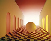 Digitally generated image of a ball headed towards the light,  going down a corridor with doors on e
