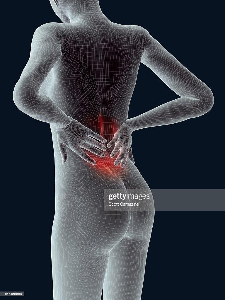 Digitally generated image of human representation feeling pain : Stock Illustration
