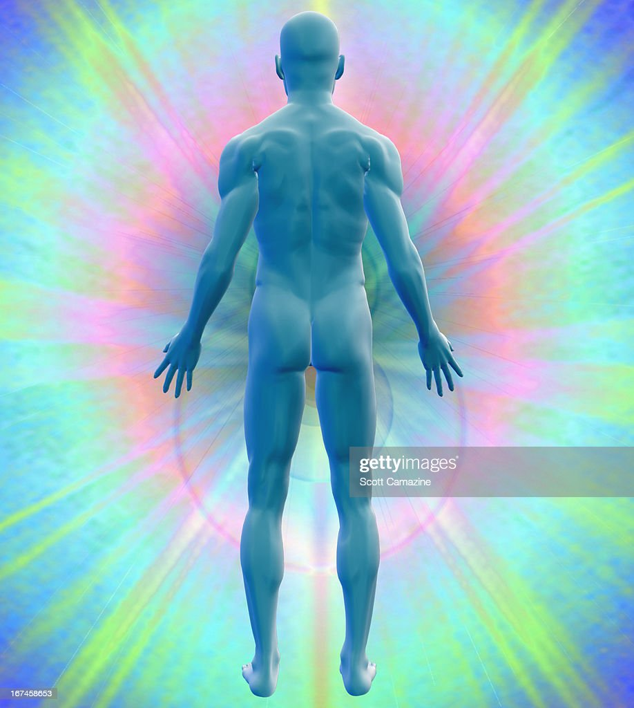 Digitally generated image of human representation on colored background : Stock Illustration