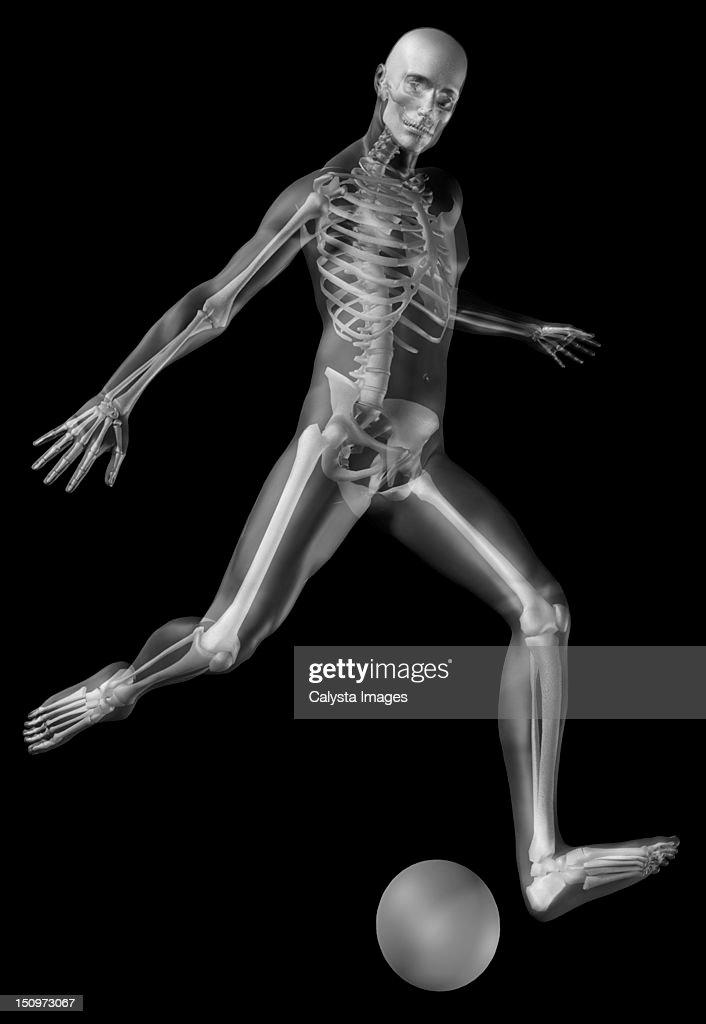 Digitally generated image of human representation playing soccer ball with human skeleton visible : Stock Illustration