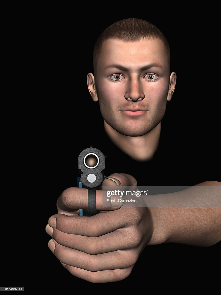 Digitally generated image of man aiming at camera with pistol : Stock Illustration
