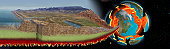 Digitally generated image of San Andreas geologic transform fault through California