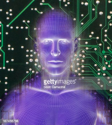 Digitally generated male figure against micro chip background : Stock Illustration
