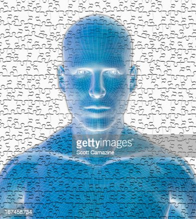 Digitally generated male figure against puzzle background : Stock Illustration
