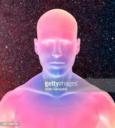 Digitally generated male figure against starry background : Stock Illustration
