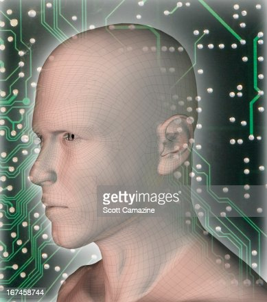 Digitally generated male profile against micro chip : Stock Illustration