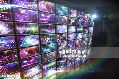Screen collage showing disco images : Stock-Illustration