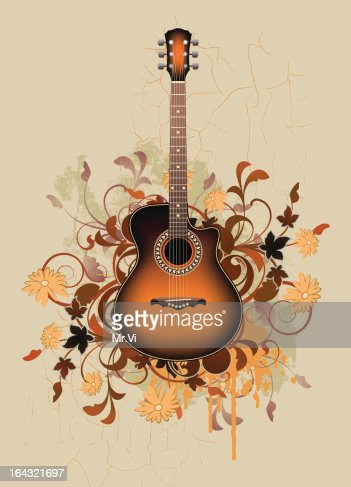 Dirty Abstract With Orange Acoustic Guitar Vector Art Thinkstock