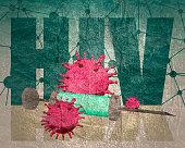 Abstract virus image on backdrop and HIV text. HIV virus danger relative illustration. Medical research theme. Virus epidemic alert