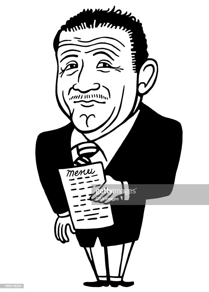 Distinguished Looking Man Holding a Menu : Stock Illustration