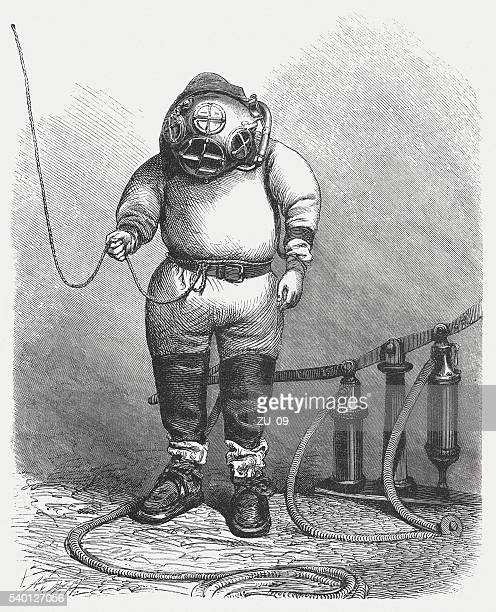 Diver in the past, wood engraving, published in 1870