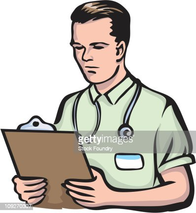 A doctor holding a clipboard : Stock Illustration