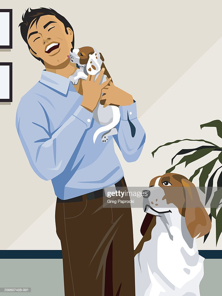 Dog looking up at man holding puppy, puppy licking man's face : Stock Illustration