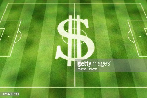 Dollar currency symbol painted on soccer field : Stock Illustration