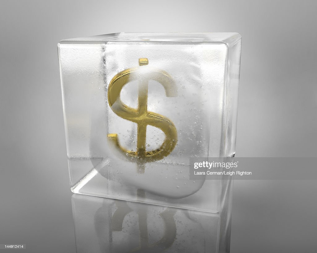 A Dollar symbol frozen in an ice cube. : Stock Illustration