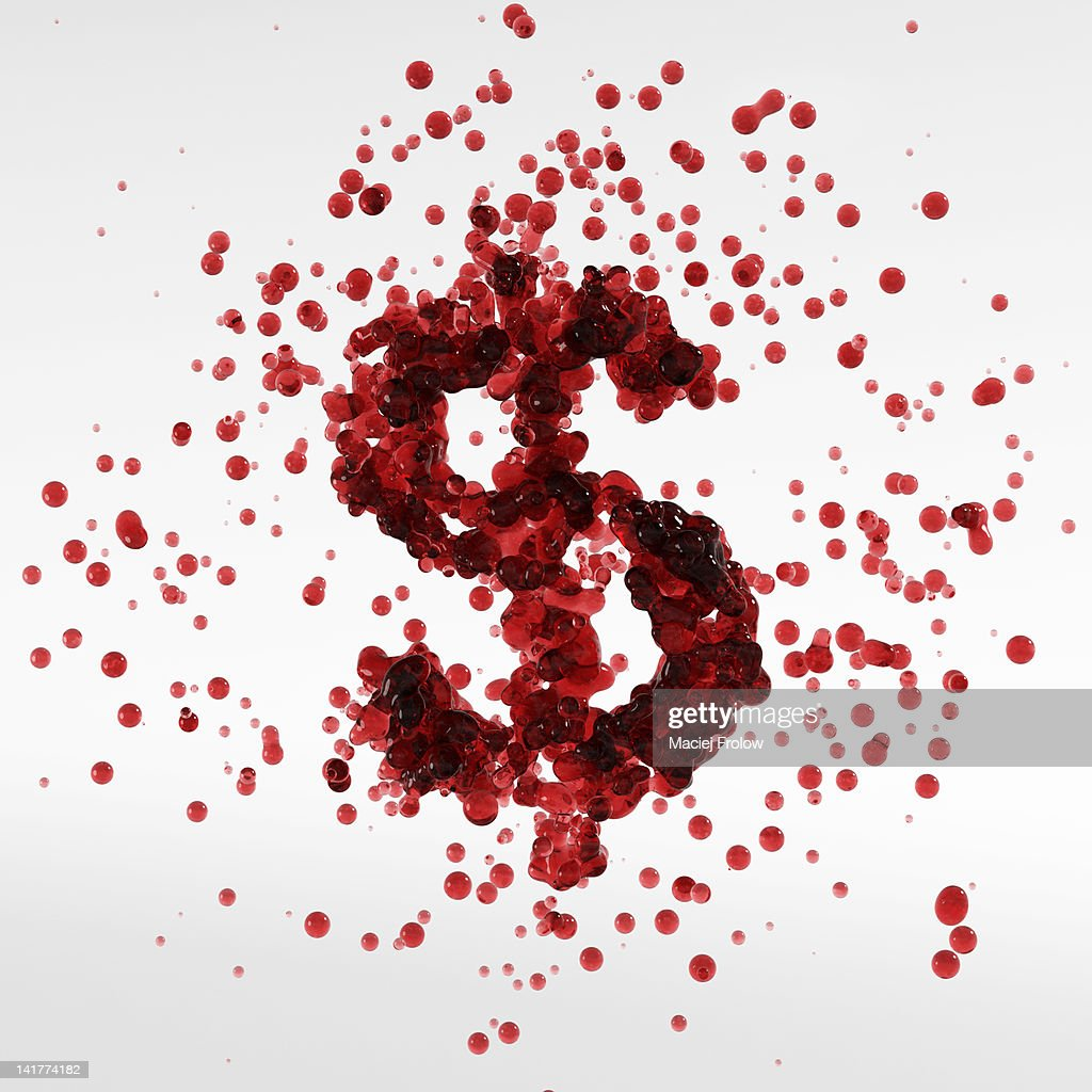 Dollar symbol made of blood bubbles : Stock Illustration