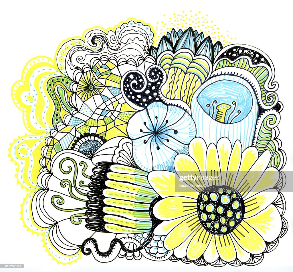 Doodle flowers : Stock Illustration