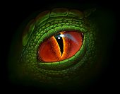 Green dragon`s eye digital realistic painting.