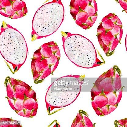 Dragon Fruit Acuarela De Patrones Sin Fisuras Fruta Tropical