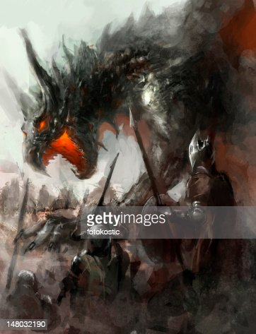 dragon hunt : Stock Illustration