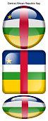 drapeau de la République centrafricaine, Central African Republic flag, bouton poussoir, drapeau national, icon, rond, carré, oval
