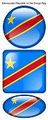 drapeau de la République Démocratique du Congo, Democratic Republic of the Congo flag, bouton poussoir, drapeau national, icon, rond, carré, oval