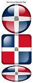 drapeau de la République Dominicaine, Dominican Republic flag, bouton poussoir, drapeau national, icon, rond, carré, oval