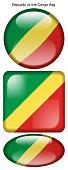 drapeau de la République du Congo, Republic of the Congo flag, bouton poussoir, drapeau national, icon, rond, carré, oval