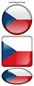drapeau de la République Tchèque, Czech Republic flag, bouton poussoir, drapeau national, icon, rond, carré, oval