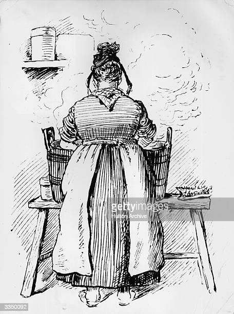 A drawing from 'The Lady' of a washerwoman working with a steaming tub