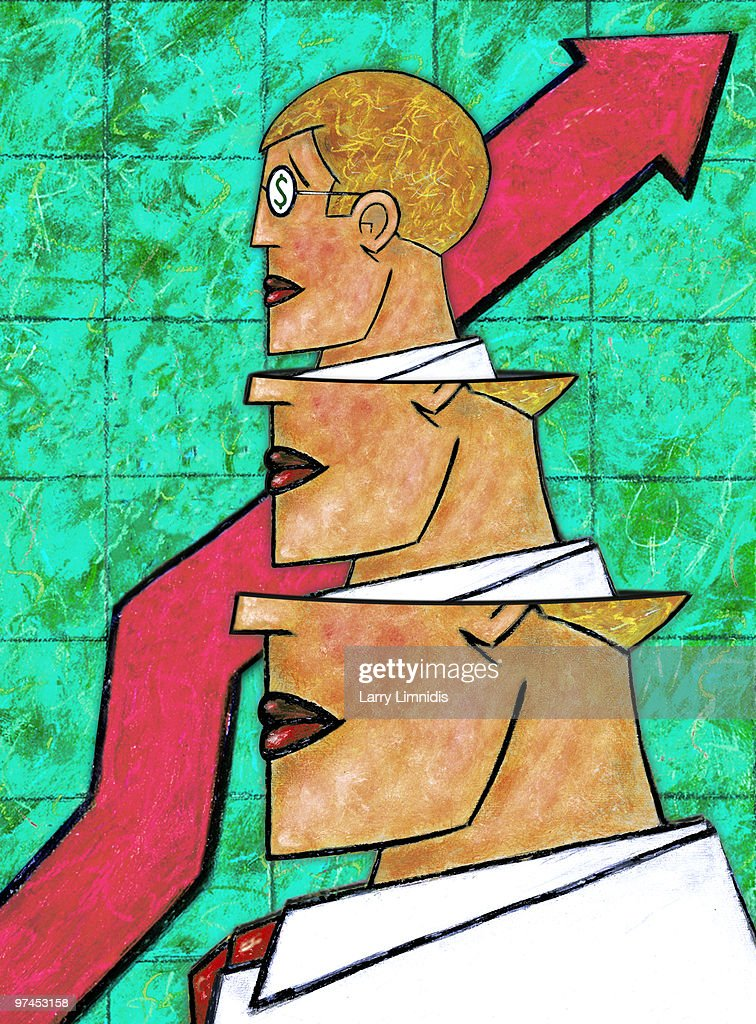 A drawing of a businessman emerging from a larger businessman with a graph background : Stock Illustration