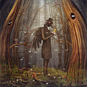 Illustration show Raven in the forest