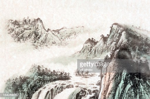 Drawing Of A Mountain Landscape Stock Illustration | Getty Images