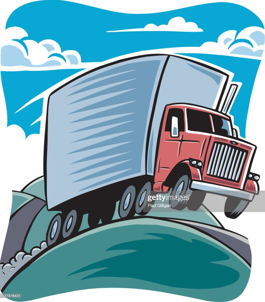 drawing of a truck on a hilly road vector art getty images